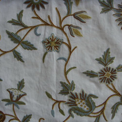 Crewel Fabric World by MDS - Crewel Fabric Marigold Vine Forest Colors on Off White Cotton Duck- Yardage - Fabric Type:Cotton Duck