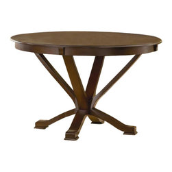 Bernards - Stradford Round Dinette Pedestal Base Table i - Chairs not included. Trestle base. Made of wood. 48 in. Dia. (83 lbs.)