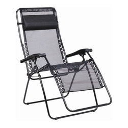 """Lafuma - RSX XL Zero Gravity Recliner Chair - Features: -Ergonomic back-rest attached by elastic laces.-Lightweight and durable high-limit elastic steel reclining folding chair.-Adjustable and removable headrest.-Batyline fabric is UV and bacteria resistant, very resistant to tearing, does not distort and is easy to maintain.-Easy storage and transport.-Intended for outdoor use, it is best to store all Lafuma chairs indoor.-Folds completely.-Ideal for people over 6 feet tall.-Weight capacity: 330 lbs.-Frame Construction Material: High limit elastic steel.-Sling Material: Batyline.-Distressed: No.-Gloss Finish: No.-Powder Coated Finish: Yes.-Weather Resistant or Weatherproof: Weather Resistant.-Mildew Resistant: Yes.-Rust Resistant: No.-Cushion Material: Batyline fabric mattress.-Fade Resistant: Yes.-Ottoman Included: No.-Water Resistant or Waterproof (Water Resistant or Waterproof) : Water Resistant.-Tufted Cushions: No.-Arms: Yes.-Armrest Cupholder: No.-Glider: No.-Rocker: No.-Swivel: No.-Stacking: No.-Reclining Mechanism (Reclining Mechanism) : Cinematic recline system and easy-to-use tension levers.-Seating Capacity: 1.-Swatch Available: No.-Hardware Material: Steel and Plastic.-Commercial Use: No.-Recycled Content: Yes.-Remanufactured/Refurbished (Remanufactured/Refurbished) : No.-Collection: RSX.-Eco-Friendly: Yes.-Product Care: Batyline fabric may be washed with a high pressure cleaner. Regular maintenance of your chair just requires use of a brush, soap, and water. It is best to keep your chair out of the elements (extended exposure to rain or moisture, and sun) to help increase lifespan..Dimensions: -Seat Height Without Cushion: 18"""".-Arm Height: 28"""".-Arm Width: 3"""".-Leg Width - Side to Side: 26"""".-Leg Depth - Front to Back: 29"""".-Fully Reclined Depth or Length: 63"""".-Overall Height - Top to Bottom (Closed) : 42"""".-Overall Height - Top to Bottom (Open) : 49"""".-Overall Width - Side to Side: 29"""".-Overall Depth - Front to Back (Closed) : 9"""".-Overall Depth - Front to B"""