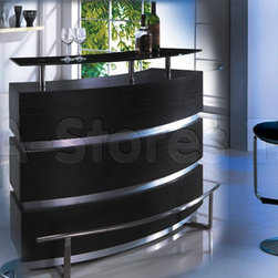 3 PC Modern Bar Set in Black and Chrome (Bar Table and Two Barstool) - Represents a varsity modern style, this set consist of monolith black bar stand and two high adjustable barstools. This stylish 3 PC Modern Bar Set in Black and Chrome is a flagman version by American Eagle Furniture. The Bar Table is created with two-tone finish with steady wood base and wonderful accents, while colors of barstool you can choose according your taste (available in red, black, beige, cream, orange, terracotta and brown colors).