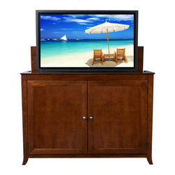 "Touchstone Home Products - Berkeley Mocha Cherry TV Lift Cabinet for Flat Screen up to 60"" - The Berkeley is clean and simple with an elegant mocha stain. It has the same finish as the Brookside lift cabinet. The Berkeley features interior shelf lighting and tons of room. The Berkeley accommodates most 60"" diagonal flat panel plasma and LCD TVs, measuring 55""W x 4.5""D x 35""H. Behind the front doors is ample storage space for your DVD movie & video game boxes. The cabinet is equipped with sliding rear panels for easy access to your TV connections."