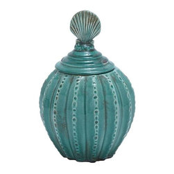 """BZBZ71245 - Jar with Vibrant Blue Color and Weathered Finish - Jar with Vibrant Blue Color and Weathered Finish. Decorate the display shelf of your living room and add spice to your home decor with this ceramic jar that defies the ages with its timeless appeal and conventional appearance. It comes with the following dimensions 8""""W x 8""""D x 12""""H. 4""""D."""