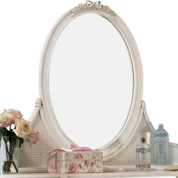 Lea Industries - Lea Emma's Treasures Bureau Mirror in Vintage White - Inviting, casual and comfortable easily describes Emma's Treasures from Lea Furniture. Traditional styling mixed with a cozy time-worn appearance creates a collection of youth furniture sure to please any age girl. The distressed vintage white color finish, antiqued pewter-color hardware, the use of cane and crystal-cut mirrors all help create the shabby chic appeal of this group. Special features include vintage patterned drawer liners and hidden compartments on select pieces. Unique pieces include a vanity with bench, a mirrored door chest and a desk that can double as a larger vanity. Take a look at Emma's Treasures and create a room your Child will treasure for years to come. And, as always, Emma's Treasures comes with the quality you expect from Lea Furniture. Safety is one of the key elements Parents look for when buying products for their Children. As a supplier of Children's furnishings, we are committed to ensuring our products meet or exceed the safety requirements defined by the Consumer Product Safety Commission and the ASTM. design and function combined with safety features makes the Emma's Treasures collection an ideal choice for any Child's room.