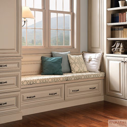 KraftMaid: Window Seat in Mushroom with Cocoa Glaze - Pedestal drawers provides useful storage in any space, including underneath window seats, banquettes, dishwashers, microwave ovens and other appliances.