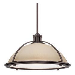 Minka Lavery - Minka Lavery 2241-281 Harvard Court Bronze 1 Light Pendant - Light French Scavo Glass Shade + Etched Diffuser
