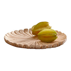 Groove Wood Charger - Slender branches of soft Birch are hand carved and smoothly sanded to create the Grove Wood Charger, an elegant curved disc to help beautify any table top in the most naturally chic way. Perfectly transitional with an old world charm, this charger is pretty enough to sit by itself, perhaps perched on a china cabinet with a country garden theme. Its possibilities are endless.