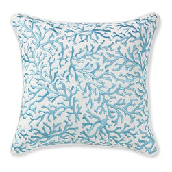 "Coral Embroidered Pillow - I love the coral trend, but I love it even more when it's in a color other than coral. This blue pillow from Williams Sonoma is ideal for summertime entertaining. Dimensions:16"" square"