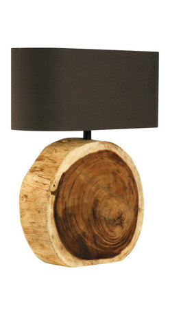 Zentique - Circular Lamp - Appreciating this lamp is as easy as falling off a log. The juxtaposition of the sleek oblong shade and the tree trunk base brings a totally unique look to your favorite setting.