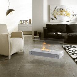 Vitrum H Freestanding Bio Ethanol Fireplace by Ignis - With the appearance that the flame is floating in mid-air, the Vitrum H adds aesthetic appeal and function to any space. This two-sided fireplace offers an eco-friendly flame that is odorless. Bio Ethanol, an alternative fuel source produced from plants, only emits water vapor and carbon dioxide into the air. Although ethanol fireplaces aren't intended for use as a primary heat source, the Vitrum H model produces approximately 6,000 btu, which will change the noticeable temperature in a room of 200-250 square feet. For aesthetic appeal and safety, this fireplace includes two pieces of tempered glass. Appropriate for any space, the Vitrum H is offered in powder coated black, red or white.