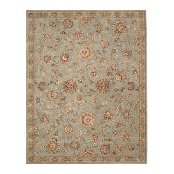 """Nourison - Nourison 2000 2360 5'6"""" x 8'6"""" Aqua Area Rug 19384 - Grand, glorious and gilded, this gorgeous old world design shimmers and shines in incandescent shades of gold, green, rose and aqua. Handmade from lavish wool and deftly woven with sumptuous silk, this incomparable rug is unsurpassed in its look and feel."""