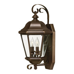 Hinkley Lighting - Clifton Park Medium Wall Outdoor Lantern - The Clifton Park Collection has all the hallmarks of traditional good taste. Comes in Copper Bronze finish. Takes 2 40 Watt Candle Bulbs.
