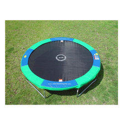 "Air Master - 15' Round Trampoline with Optional Accessories - 15' Round Trampoline with Optional Enclosure A perfect backyard accessory; your kids will jump for joy when you open up the Round Trampoline! This trampoline is the terrific backyard toy. The black and smooth polypropylene mat features sunguard protection for longer life. The Round Trampoline is a fun way to promote an active lifestyle for your child. For extra safety, the thick blue and green padded cover around the mat cushions the frame and prevents children from stepping through any gaps. It makes a great family gift for any occasion. Features: -Rebounding Surface: Reinforced. -Frame Construction: Galvanized steel construction. -Maximum user weight: 250 lbs. -Mat material: Polypropylene. -Blue and green frame pads with elastics. -Great outdoor activity. -15 Foot trampoline has a screened target for directing your child back to the middle of the trampoline mat. -Warranty: Steel frame - 10 years, jumping mat - stitching & sewing: 2 years / 5 year pro-rated warranty on mat material (100% 1st year, 50% 2nd year, 35% 3rd year, 20% 4th year, 10% 5th year), springs - 2 years, frame pad - 1 year. Specifications: -Bed Diameter: 13 ft'. -Frame Height: 36"" H. -96 Springs, 8.5"" Heavy duty Galvanized Steel. -Frame Pads: 13"" Extra wide vinyl coated pad, 1' thick closed cell ethylene foam. -Pads are blue and green. -3/4"" Thick trampoline frame pads. Optional Step Ladder Features: -Fits round, octagon and rectangular model trampolines. -2 Step ladder 36"". -3 Step ladder 40"". -4 Step ladder 40"" and up. -Easy access on and off. -Light weight. -Removable. -Great safety precaution. -Quality design. Optional Spring Tool Features: -Easy to use assembly tool. -Quality Construction. -Great design. Optional Round Deluxe Cover Features: -Quality construction. -Heavy duty tarp material. -Color: Black. -Includes elastics and ties. -Fits any round or octagon trampoline."