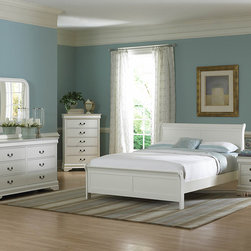 Homelegance - Homelegance Marianne 6 Piece Panel Bedroom Set in White - The Marianne Collection brings the most popular furniture silhouette together with casual painted white or black finishes to create a great choice for youth and guest bedrooms. We have modified the classic lines of the bed by adding low-profile footboard creating a lighter  more airy feel. The Marianne Collection is the best of both comfortable style and simplicity.