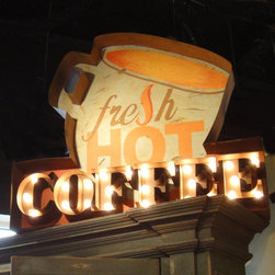 "Fresh Hot Coffee Lighted Sign - Get the style of a vintage sign at an affordable price. Perfect for your kitchen or bar this unique sign is hand painted and distressed and comes with strand of 25, C-9 clear bulbs. Some assembly is required. Can be used indoors or out. Dimensions: 40""w x 4""d x 33""h"