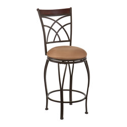 SEI - Ashbourne Swivel Counter Stool - Complement your home with contemporary convenience. The intersected arcs and curved legs of this counter stool create a smart and refined look. A powder-coated, dark champagne finish and durable steel frame deliver lasting quality. It features counter height seating, a cozy foam seat covered in plush mocha microfiber, and a backrest accent in a rich walnut finish bentwood. A full 360 degree swivel and footrest ring provide comfort and ease. The curvaceous form and attractive finish coordinate with traditional to contemporary decor styles. Ideal for the kitchen, breakfast nook, island, or dining area.