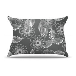 "Kess InHouse - Louise Machado ""Floral Ink"" Gray White Pillow Case, King (36"" x 20"") - This pillowcase, is just as bunny soft as the Kess InHouse duvet. It's made of microfiber velvety fleece. This machine washable fleece pillow case is the perfect accent to any duvet. Be your Bed's Curator."