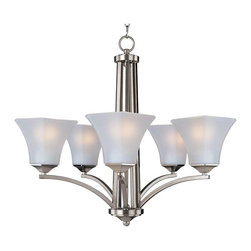 Maxim Lighting - Maxim Lighting Aurora 5-Light Chandelier Satin Nickel - 20095FTSN - Straight lines and curves make this contemporary series a classic. Square metal tubing finished in your choice of Oil Rubbed Bronze or Satin Nickel support tapered square Frosted glass shades.