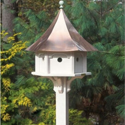 Good Directions - Lazy Hill Farms Polished Copper Roof Carousel Bird House - 42406 - Shop for Houses from Hayneedle.com! Graceful lines and a stunning polished copper roof make the Lazy Hill Farms Polished Copper Roof Carousel Bird House a handsome addition to your garden. The body of this carousel shaped bird house is crafted of white solid cellular vinyl which is an excellent material that looks and feels like authentic wood yet requires no maintenance. The polished copper roof removes for easy cleaning of the six separate compartments and this bird house includes a metal plate for post mounting. About Lazy Hill Farm Designs Lazy Hill Farm Designs is a leader in garden and birding accessories. They are known for turning exquisite designs into exceptional quality garden accessories. All Lazy Hill Farm products are made of solid cellular vinyl that looks and feels like genuine wood yet requires no maintenance. All the roofs are removable for easy cleaning and each one is handcrafted in America. These are among the finest garden accessories on the market.
