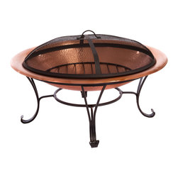 Great Deal Furniture - Camino Fire Pit - Add light and warmth to your poolside, yard, or patio with this elegantly designed Camino fire pit. The elegance of copper bowl makes a perfect background for the timeless, hypnotic beauty of flickering flames, and wrought cast iron frame adds an extra charm to this elegantly engineered firepit.