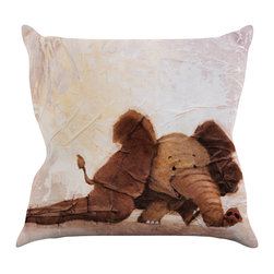 """Kess InHouse - Rachel Kokko """"The Elephant with the Long Ears"""" Throw Pillow (26"""" x 26"""") - Rest among the art you love. Transform your hang out room into a hip gallery, that's also comfortable. With this pillow you can create an environment that reflects your unique style. It's amazing what a throw pillow can do to complete a room. (Kess InHouse is not responsible for pillow fighting that may occur as the result of creative stimulation)."""