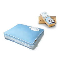 P.L.A.Y. - P.L.A.Y. What Dogs Dream Rectangular Bed Cover Sky Blue Light/White Medium - Your pup will be enjoying some amazing dreams with the P.L.A.Y. What Dogs Dream Rectangular Bed Cover. The playful design and light blue and green colors make it perfect for a good night's sleep. The bed cover is designed for any rectangular pet bed with artwork by local artist David Collins. The allergy free 100% natural cotton cover is soft and breathable. The custom made zipper makes it easy to remove or slip back on in a second. 'I always wondered what my dog might be dreaming about. This design depicts one of my many conclusions.' -P.L.A.Y. Artist Dave Collins Designed for the What Dogs Dream rectangular pet bed. What Dogs Dream dog bed cover artwork created exclusively for P.L.A.Y. by SF local artist and dog-lover David Collins. Non-repeating design makes your pet feel super-special and shows off your unique fashion sense. Looks great in living room, family room or SUV. 100% natural cotton covering is soft, breathable and allergy-free. Furniture-grade craftsmanship and even-basting stitching ensures dog-years of use. Custom-made P.L.A.Y. zipper makes it easy to slip cover off for washing or replacement for a new style. Made in a facility that meets the strict quality standards for infant and children products. Momo-approved and tested by her four-legged friends.