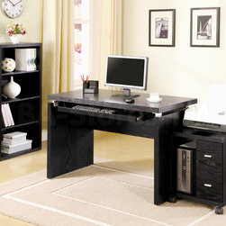 4 PC Home Office Set (Computer Desk, Computer Stand, Bookcase, and File Cabinet) - This 4 Piece Home Office Set by Coaster Co. consists of a Computer Desk, Two Drawer Computer Stand, Bookcase, and Mobile File Cabinet. The set is finished in Black. A wide desk surface offers ample workspace and features a keyboard tray below. Two lower drawers of the computer stand provide just enough room for storing CDs, ink cartridges or related items neatly out of sight. A vertical open shelf even accommodates your CPU tower for a clean, uncluttered look. The mobile file cabinet offers a unique combination of shelf and drawer storage to meet your home office organization needs.  The bookcase with its four shelves completes the look of your home office.