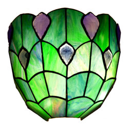River of Goods - 8.75 Inch High Stained Glass Ocean Blue Wireless Battery Operated Wall Sconce - The Stained Glass Crystal Ocean Wireless LED Wall Sconce captures the beauty and adventure of the ocean with its cool blue and green glass. Our wireless LED wall sconces are battery operated with an option to plug in. All you need to hang this lamp is a Philips head screwdriver or a drill. We include a screw, anchor, light box, shade, remote control, and power adapter. The remote control features on/off and two timer options (4 or 8 hrs). When using the timer your light will turn on at the same time it was set each day. Crafted from 33 hand-cut glass pieces and 7 cabochons. You will find many places for these inside or outside of your home. If you choose to use with batteries, it requires three D batteries (not included).    UL approved.