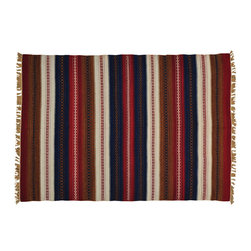1800-Get-A-Rug - Hand Woven 100% Wool Flat Weave Striped Durie Kilim Oriental Rug Sh20161 - The Flat Weave hand woven rug is a type of area rug created by weaving wool onto a foundation of cotton warps on a loom. The Flat Weave rug offers the same beauty and durability as the classical thick-pile Oriental rugs, but without the telltale thick pile often spotted in other handmade rugs. This gives the Flat weave a thin and flat appearance which resembles the Needlepoint, making them wonderfully ideal choices as accent rugs, wall hangings, or to drape over furniture and staircases.