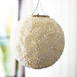 Cassie Shell Pendant - Look closely and you'll see that this floral pendant light is actually made of tiny seashells!