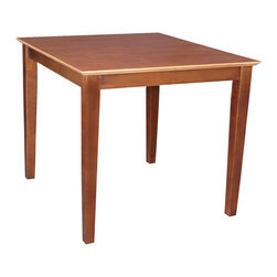 None - Cinnamon/ Espresso Wood Table - Made of durable wood,this table features a beautiful brown finish and versatile design. With shaker-style legs and butcher block top,this table is perfect for any existing home decor.