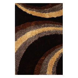 Rug - Brown Hand-tufted Shaggy Area Rug, Brown, 8 X 11 Ft., Geometric, Hand-Tufted Are - SHAGGY VISCOSE DESIGN COLLECTION