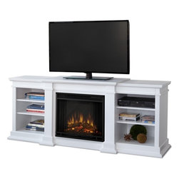 Real Flame - Fresno Home Theater Media Center and Electric Fireplace, White - A substantial freestanding fireplace that doubles as an entertainment center. Available in dark walnut and black, this unit is able to hold a television of 100 lbs. or less and has adjustable shelving to accommodate most electronics.