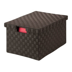 Honey Can DO - Woven File Box - Espresso, Large - Our Large File Box, Espresso. Store your documents in style with this contemporary file box that includes a matching lid. Compatible with letter and legal size documents, the box has built-in file racking and cut out handles on the side of the lid. The durable woven strapping will stand the test of time and add a unique look to your office.