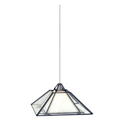 Tech Lighting - Tech Lighting 700MOOAKBWS MOOak Park Pend clear, sn - Craftsmanstyle foursided seeded glass shade with black metal frame. White inner shade diffuses a lowvoltage, 50 watt halogen bipin lamp (included). Includes six feet of fieldcuttable suspension cable.
