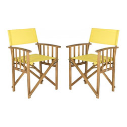 Safavieh - Laguna Director Chair - Give your porch or patio a touch of Hollywood glam with a pretty and practical set of two Laguna outdoor director chairs.�These folding chairs are crafted of eco-friendly acacia wood in a teak finish with spiffy yellow all-weather Textilene fabric.