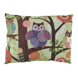 """Manual - """"Forest Owls"""" Reversible Indoor / Outdoor Throw Pillow 24 In. x 18 In. - This 24 inch by 18 inch woven tapestry throw pillow adds a wonderful accent to your home. The pillow has a Climaweave weatherproof exterior, that resists both moisture and fading. The front of the pillow features a trio of adorable patchwork style owls in shades of blue, purple and tan. The back of the pillow has a blue and green geometric polka dot print. Each of these pillows is crafted with pride in the Blue Ridge Mountains of North Carolina."""