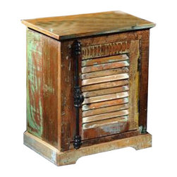 """YOSEMITE HOME DECOR - Accent Cabinet - A fun and useful accent chest that fits almost any space. Use as a chair side table, nightstand or just for that little bit of extra storage. Made of solid mango wood and hand finished with splashes of aged paint, it adds a little """"spice"""" anywhere. The shutter door features a distressed black metal faux dual latch handle. Assembled and Made in India.  Overall Item Dimension 20""""Wx14""""Dx24""""H"""