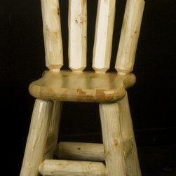 Viking Log Furniture - Wood Seat Dining Chair (Honey Pine) - Finish: Honey Pine. Back and base of these rustic chairs are constructed from solid lodge pole Pine. Constructed of 2 in. solid Ponderosa Pine. Manufactured using mortise and tenon construction and glued together to make the best dining chair possible. Slightly smaller than the upholstered log dining chairs. Made to order in the US. Pictured in Clear. Lifetime warranty. 22 in. W x 20 in. D x 35 in. HThe Wood Seat Log Chairs work wonderfully well with any rustic dining room setting. Every dining room chair is protected by the same catalyzed lacquer finish that is put on the log dining tables.