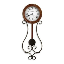 HOWARD MILLER - Howard Miller Yvonne Wrought Iron Wall Clock - This wrought iron clock with warm antique gray finish, features a profiled wood bezel finished in Americana Cherry.