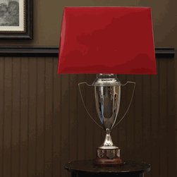 Trophy Cup Lamp Base with Harp and Finial by Two's Company® - Grab some of that traditional hunt club style with this silver trophy lamp. It's perfect for a masculine office or library, yet pretty enough for a feminine nightstand.