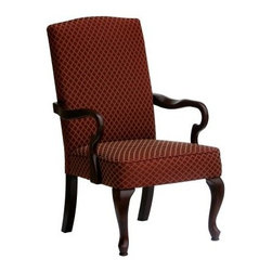 Hampton Upholstered Arm Chair - The Hampton Upholstered Arm Chair is no slouch by nature. Literally the high chair back prevents slouching making it perfect for attentive conversations and reading. A formal diamond print is available in red beige blue or green jacquard fabric. Whatever color supports your design aspirations most a rich cherry finish is sure to complement your choice. Much of the frame is upholstered while elegant legs and arms remain exposed. Solid wood construction ensures lasting quality. Consider it the pinkie-out accent chair for your traditional decor.About Comfort PointeComfort Pointe produces timeless furniture classics for the home from the heart of furniture country: High Point North Carolina. They boast an impressive portfolio of stunning traditional furniture sure to win over the most discerning of decorators. Partnering with the best craftsmen from around the world Comfort Pointe delivers fabrics designs and materials of the utmost quality at fair prices. Comfort Pointe uses environmentally sustainable shipping packaging and environmentally friendly components in their furniture.