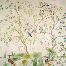 "Warrenton Wallpaper - Paul Montgomery Studio's ""Warrenton"" hand-painted wallpaper is whimsical and elegant, reflecting the best in classic chinoiserie design."