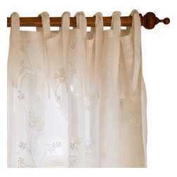 "Taylor Linens - Matilda Cream Curtain Panel Linen Voile, 42""x84"" - This sheer, linen voile curtain panel is embroidered with an all-over winding floral pattern. 100% Linen Voile. Machine Washable. Cream. 42""x84"""