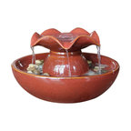 """Welland - Welland Ceramic Relaxation Tabletop Garden Water Fountain - An indoor water fountain is a living work of art with decorative pebbles, a dynamic visual display that is never the same from one moment to the next. The soothing sounds of a waterfall help focus the mind, and bring the tranquility of a mountain stream into any room in your home. Dimension: 10""""W x 10""""D x 6.5""""H.  100% ceramic."""