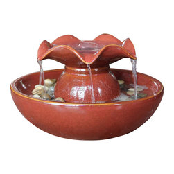 "Welland - Welland Ceramic Relaxation Tabletop Garden Water Fountain - An indoor water fountain is a living work of art with decorative pebbles, a dynamic visual display that is never the same from one moment to the next. The soothing sounds of a waterfall help focus the mind, and bring the tranquility of a mountain stream into any room in your home. Dimension: 10""W x 10""D x 6.5""H.  100% ceramic."