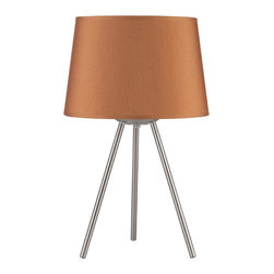 Lights Up! - Weegee Small Table Lamp, Gold Silk Glow - Style. Function. Simplicity. You've hit the trifecta with this modern table lamp. The tripod base is made of brushed nickel and holds one bulb beneath the tapered drum shade that comes in several colors and patterns to work in your room.