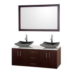 Wyndham - Arrano 55in. Vanity in Espresso w/ White Glass Top & Black Granite Sinks - Arrano 55 in.  Vanity in Espresso with White Glass Top Black Granite Sinks