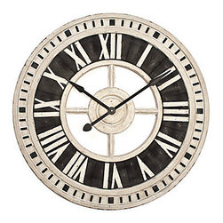 Z Gallerie - Nantucket Wall Clock - Our large-scale Nantucket clock is a stylish decorative accent as well as a functional timepiece. With the casual easy look of weathered wood, the Roman numerals and minute markers are given a whitewashed finish and are raised above the Black stained background. Made from durable manufactured wood, the timepiece measures an impressive 36 diameter, and includes quartz movement. Battery not included.