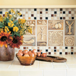 Craftsman Style - Various Pratt and Larson's Vintage Illustration Tile Series in C204 with 1x1 mosaic border