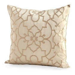 Royal Celebration Pillow - Smooth cloth textured by pale gold filigree designs adds a regal, reserved sumptuousness to any room. Settled into an armchair or window seat or placed at the head of a bed, the Royal Celebration Pillow is instantly refined; its light gold and cool ivory palette is a functionally neutral yet particularly sumptuous addition to your room's color scheme.